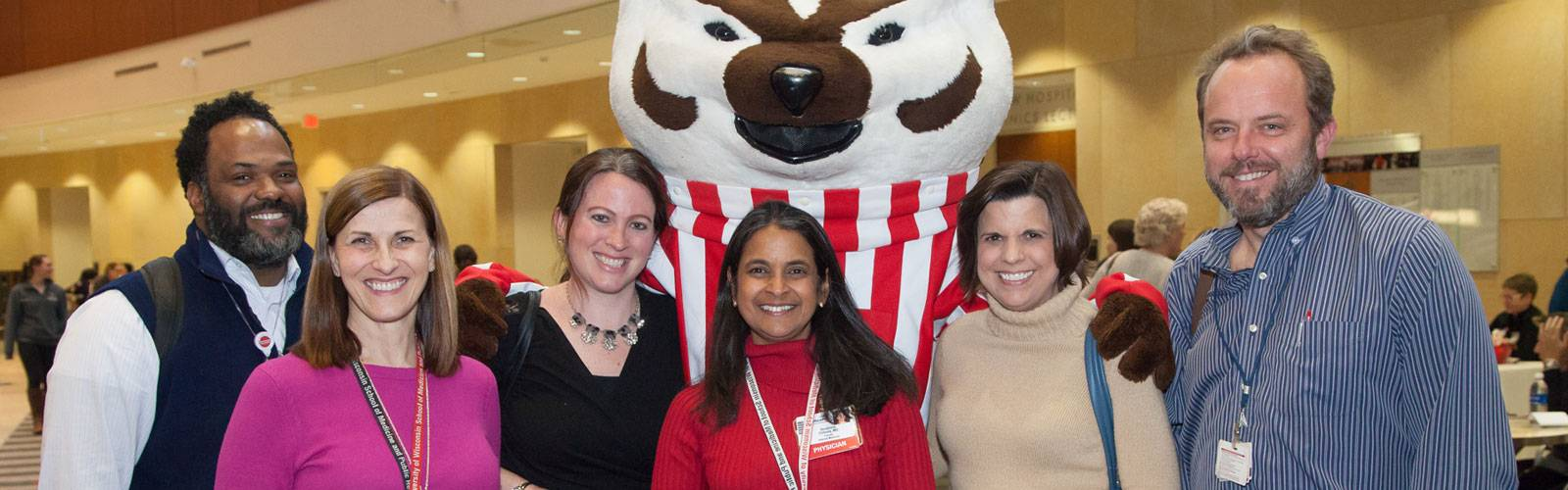 Faculty with Bucky Badger